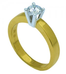 Bicolor gouden ring met briljant